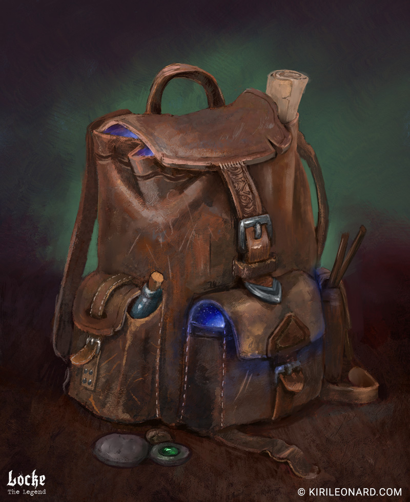 Illustration of a bag of holding for Locke the Legend by Kiri Leonard