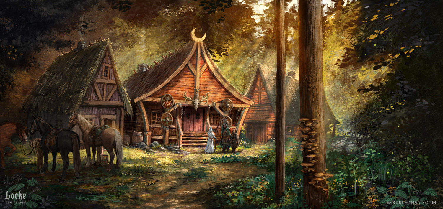 Illustration of a medieval fantasy hunter's lodge for Locke the Legend by danish artist Kiri Leonard