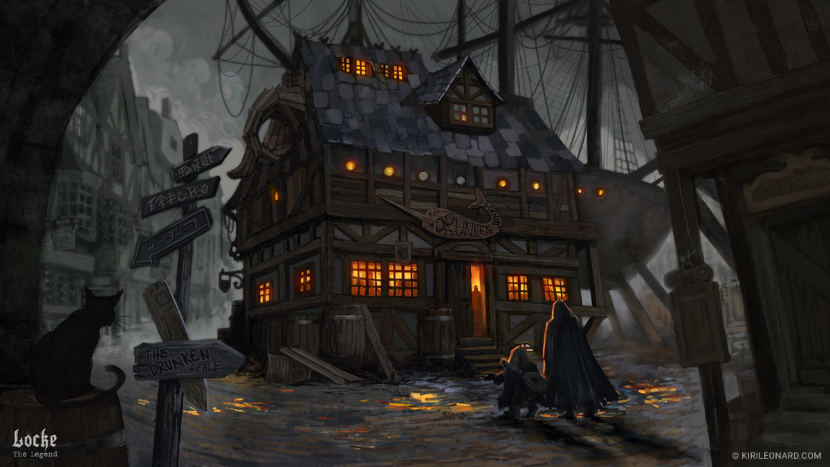 illustration of a medieval ship's tavern for Locke the Legend by danish artist Kiri Leonard