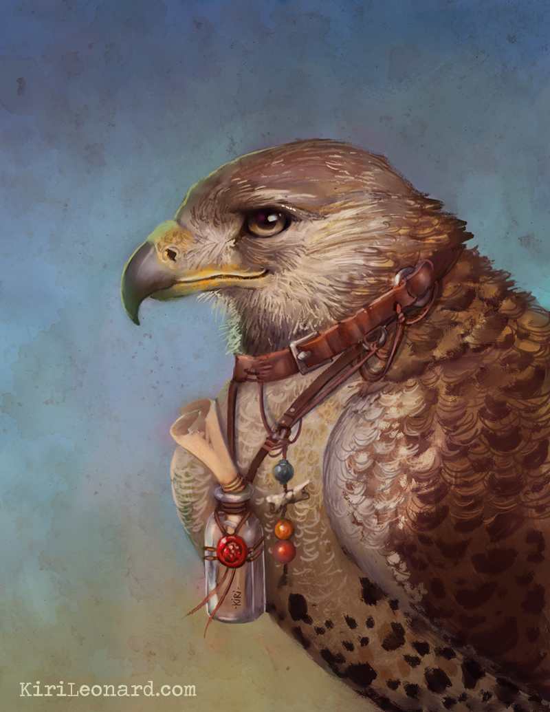 Illustration of Falcon Familiar by Kiri Leonard