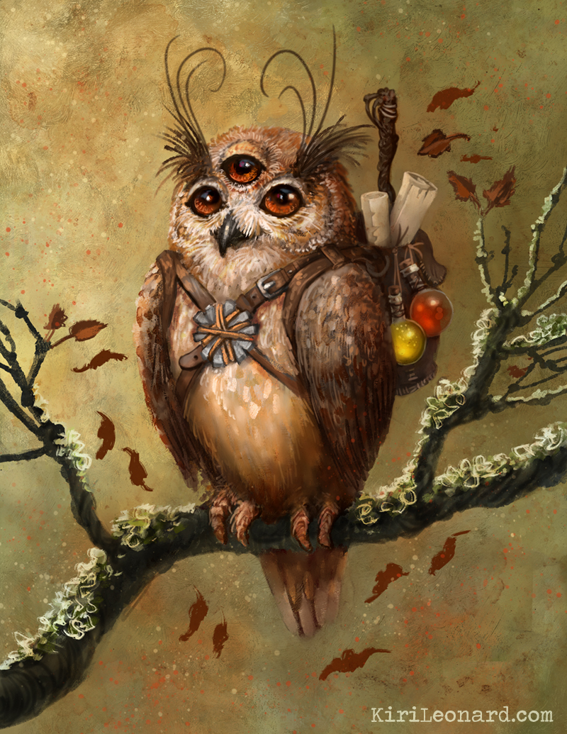 Framed Mini: Thee-Eyed Owl Familiar