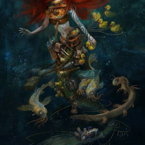 illustration of a post apocalyptic mermaid by danish artist kiri leonard