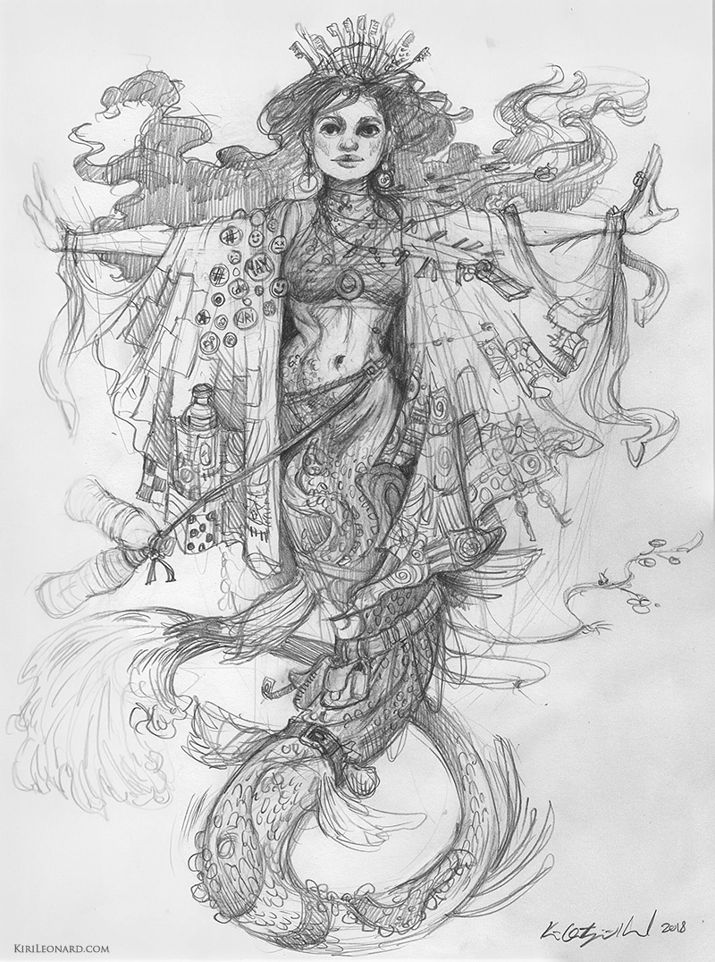 Mermaid Drawing by Kiri Leonard