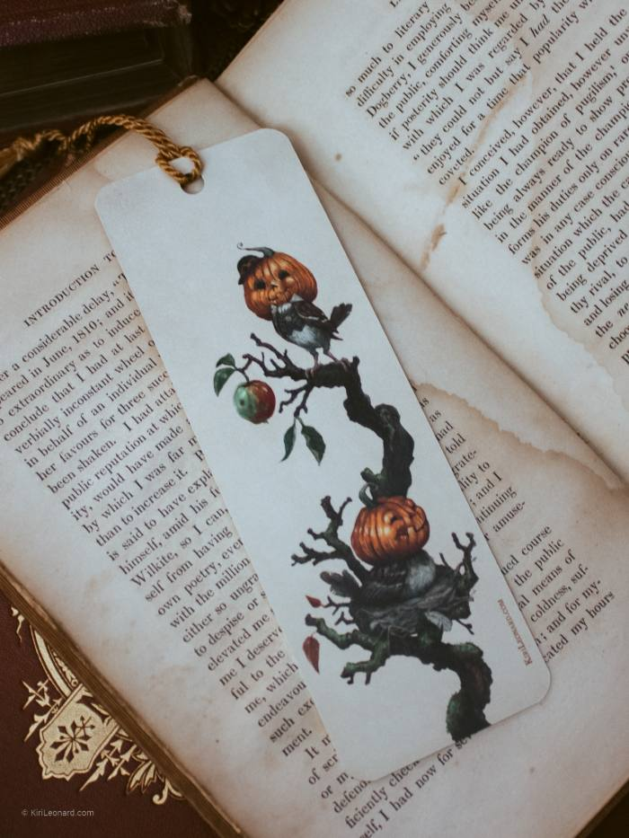 Back of Double-sided Pumpkin Sparrow Halloween Bookmark
