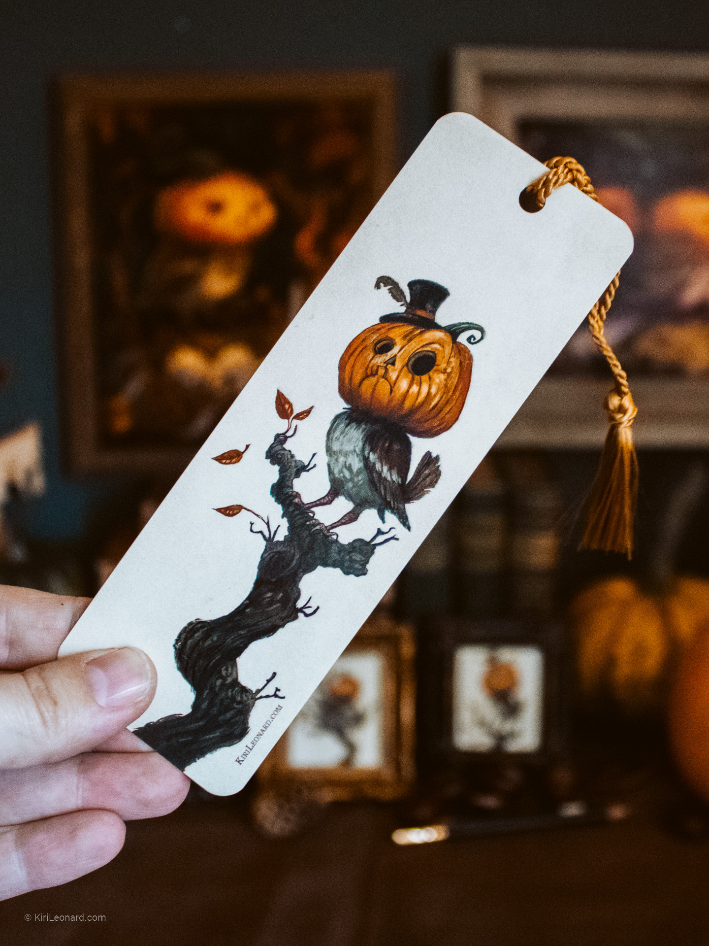 Front of Double-sided Pumpkin Sparrow Halloween Bookmark