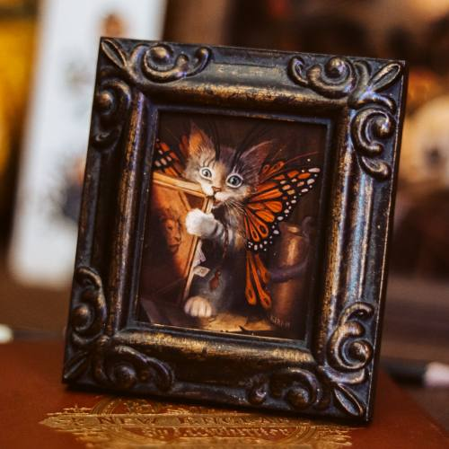 Kitten Butterfly Small Framed Print by Danish artist Kiri Leonard