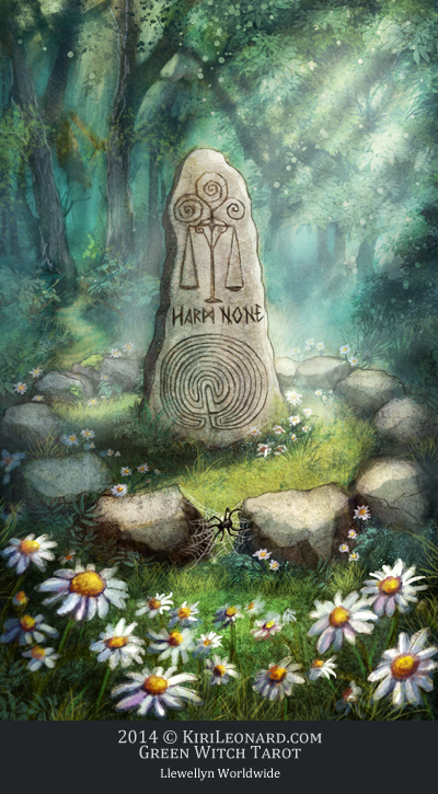 The Green Witch Tarot: The Standing Stone / Justice