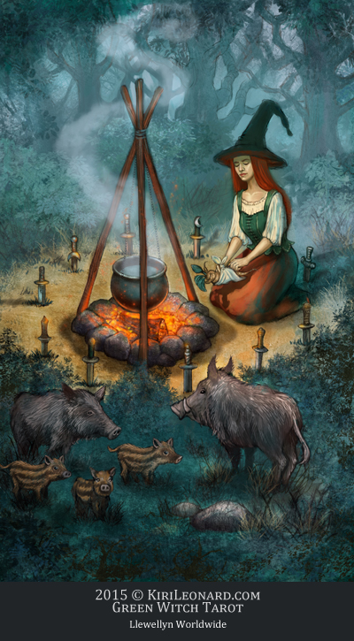 The Green Witch Tarot: 10 of Athames