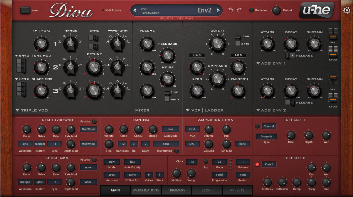 Screenshot Of The VST Synth Diva From U-HE