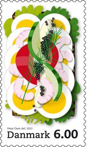 Briefmarke mit Smørrebrød-Design von Postnord