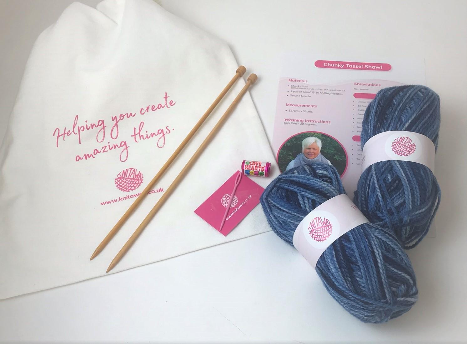 Chunky Tassel Shawl Knitting Kit