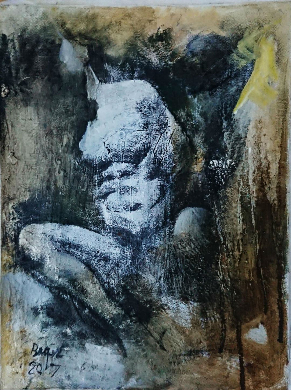 Baqer Hasan Måleri | Blandteknik på duk 30 x 40 cm 1 500 kr