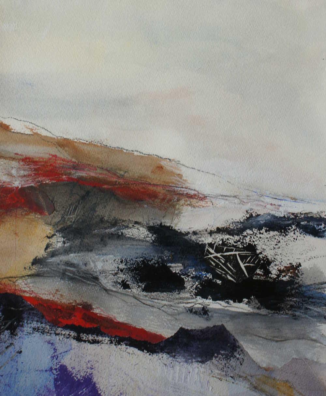 Lynn Gustafsson Måleri | Akryl, collage på akvarellpapper 29 x 38 cm bildstorlek 40 x 50 cm med passepartout 3 000 kr