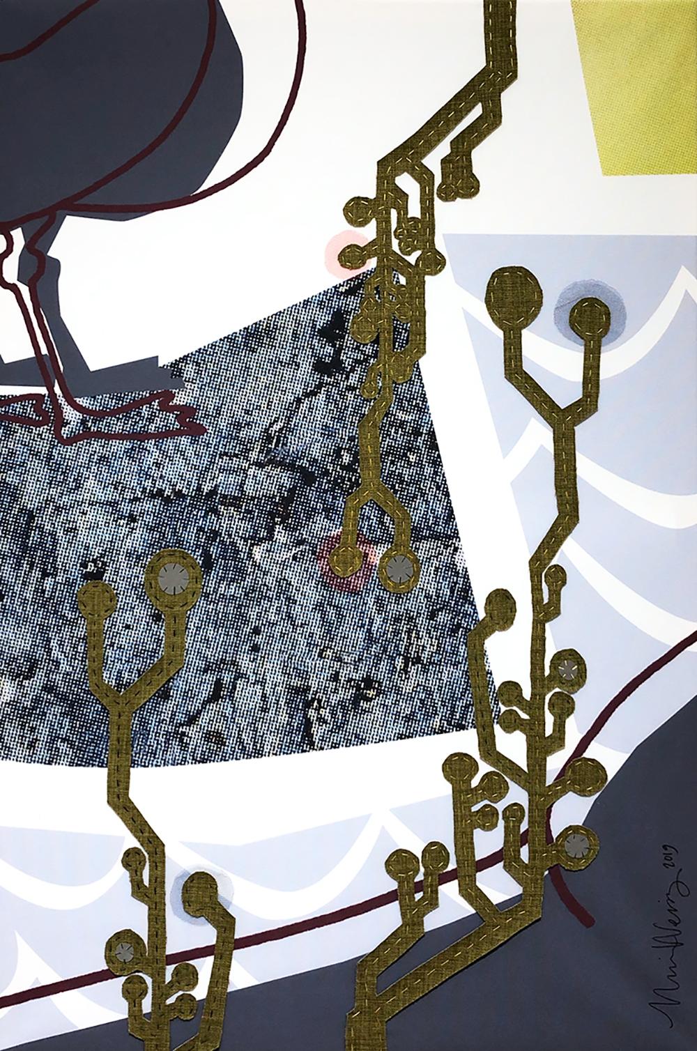 Ulrika Weinz Textil   Collage, fungerar utmärkt som ljudabsorbent 80 x 120 cm, uppspänd på 4 cm djup kilram 11 500 kr weinzatwork.com