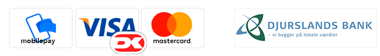Betaling kan ske med Mobilepay, Visa Dankort eller Mastercard