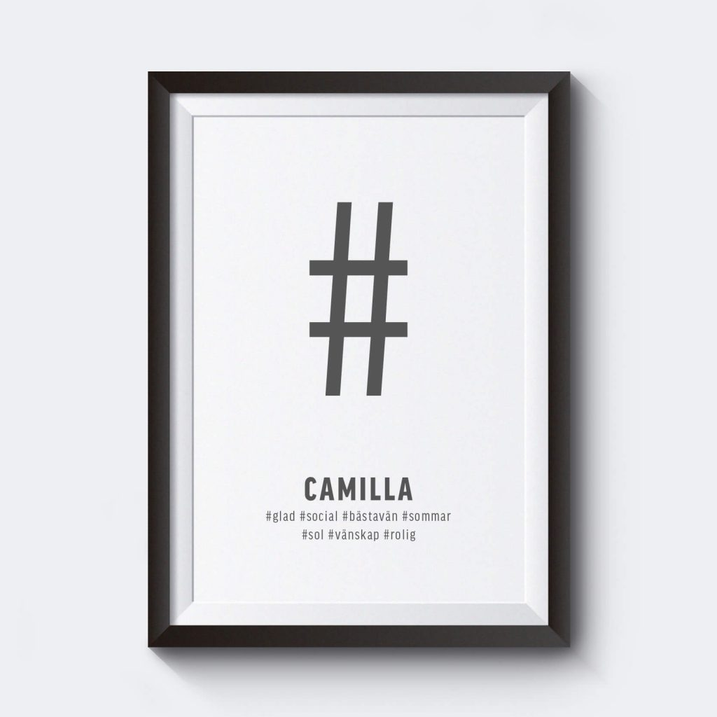 Hashtag personlig namntavla