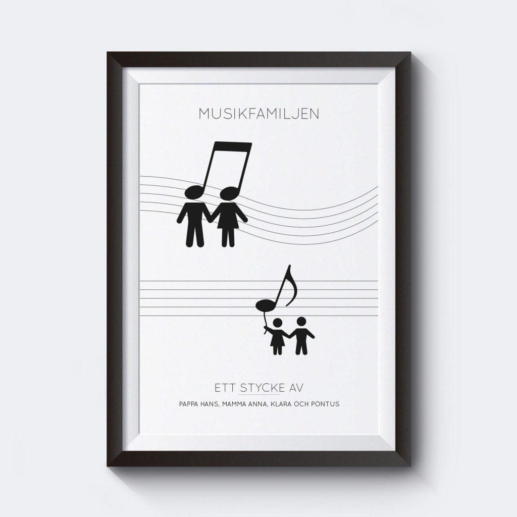 Personlig poster med noter musikfamiljen