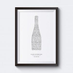 Vinposter med blå druvor och egen text