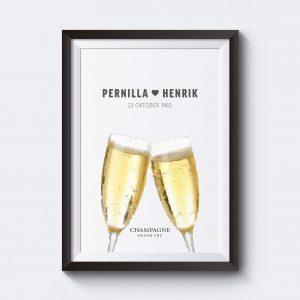 Personlig champagnetavla