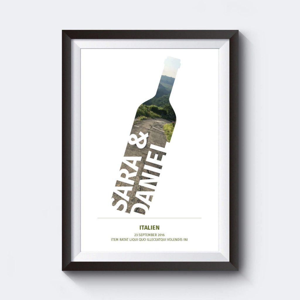 Personlig vintavla med vinflaska och egen text.