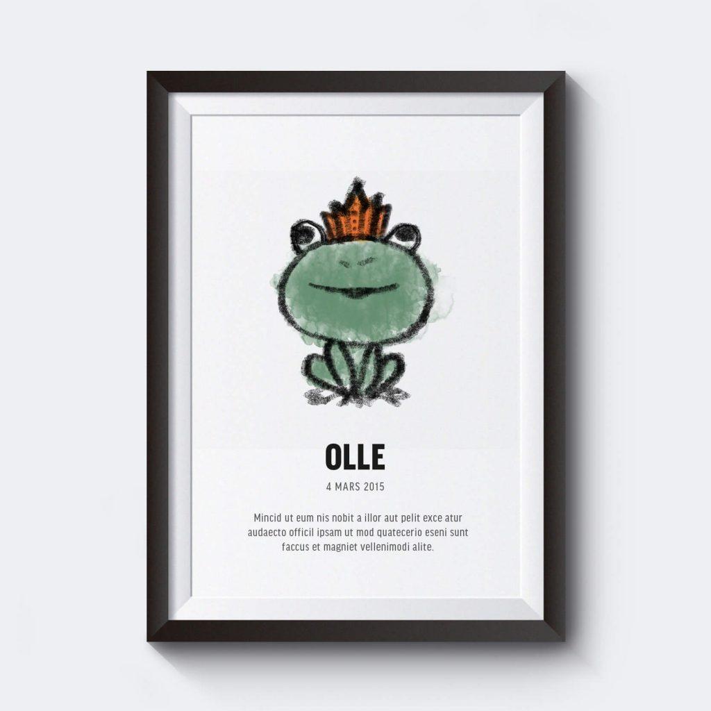 Personlig affisch med eget namn som en groda