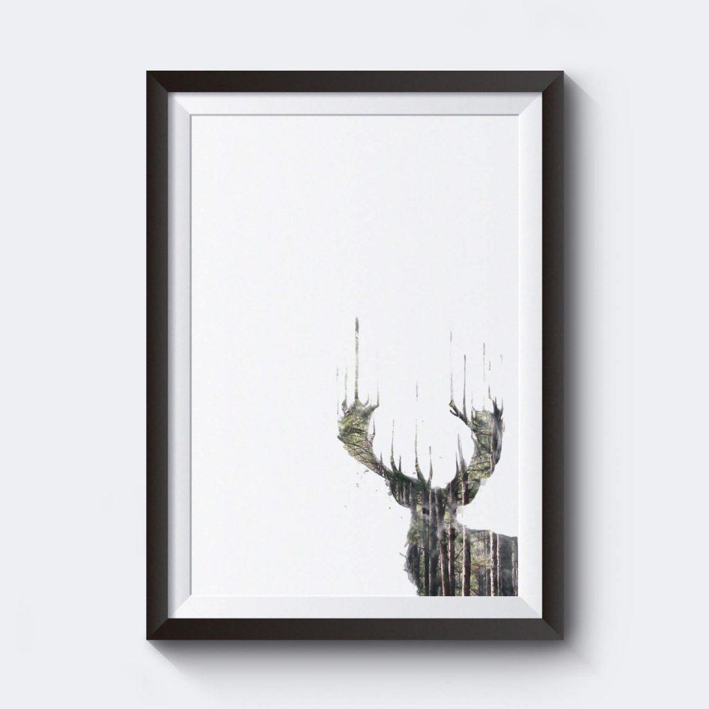 billig-poster-affisch-prints-motiv-radjur-skog