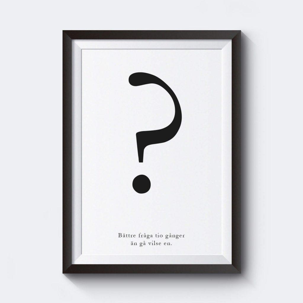Personlig poster med frågetecken och möjlighet att skriva in egen text.