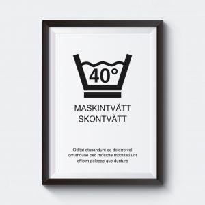 Personlig tavla med tvättsymbol maskintvätt.