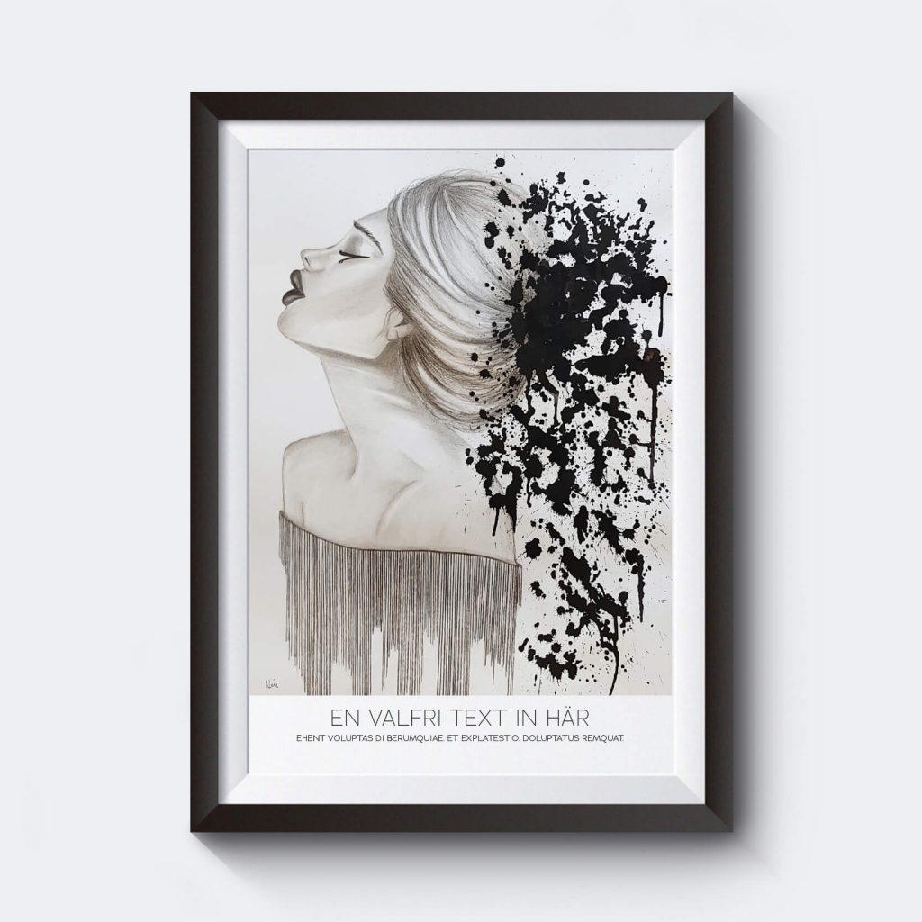 personlig-poster-illustration-ansikte-svartvit-egen-text
