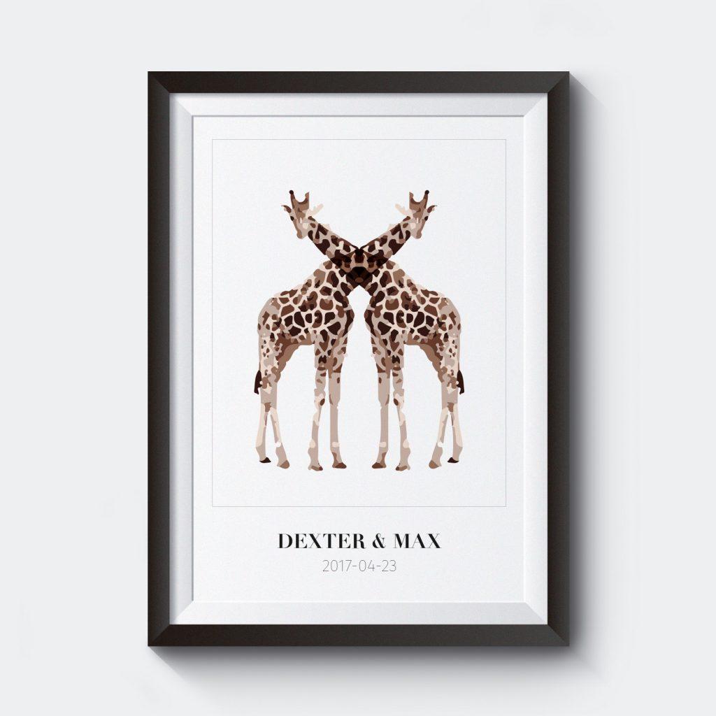 namnposter-tvillingar-med-egen-text-giraff