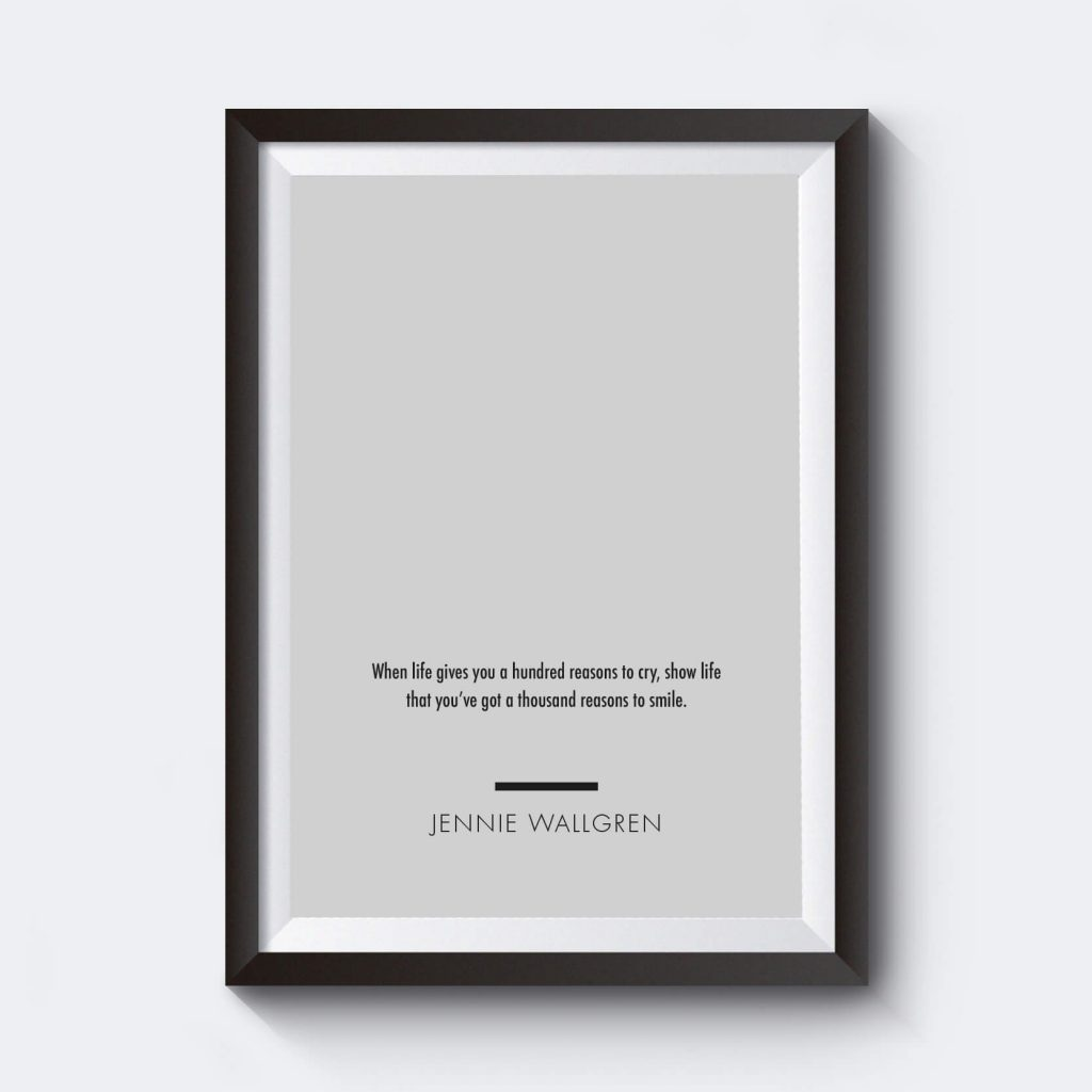 Personlig poster grå platta med egen text.