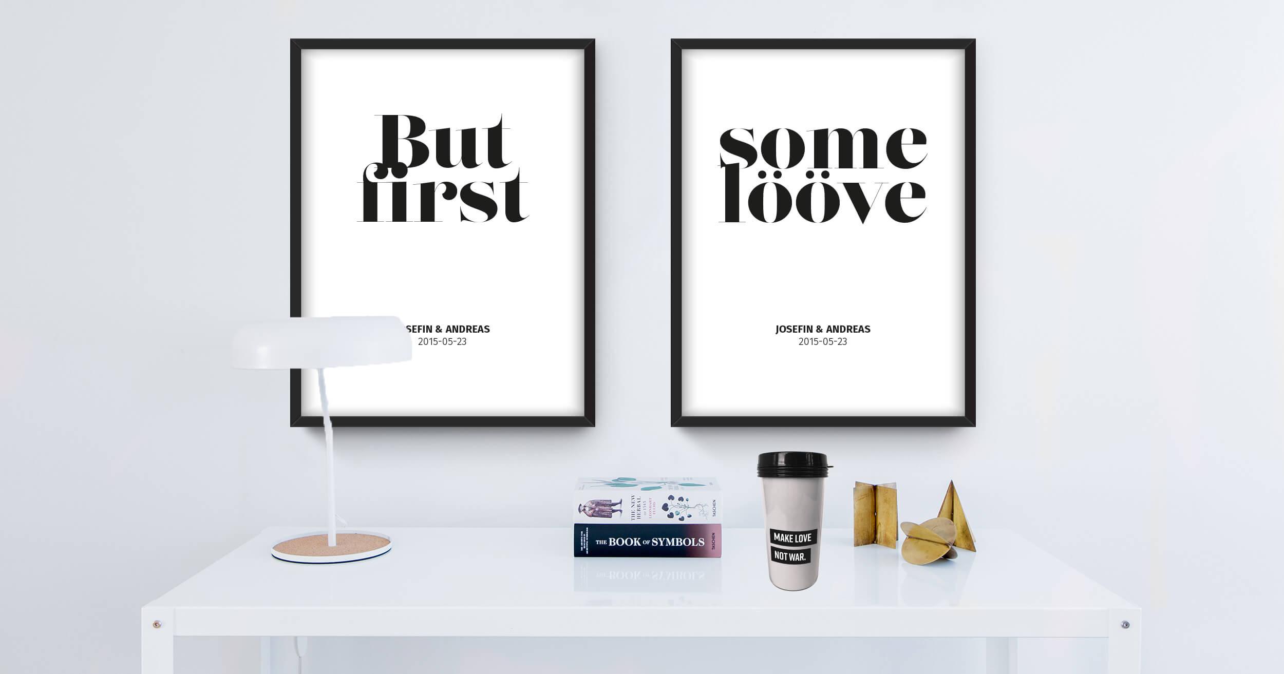 Personliga tavlor med egen text och personlig takt away kaffemugg.