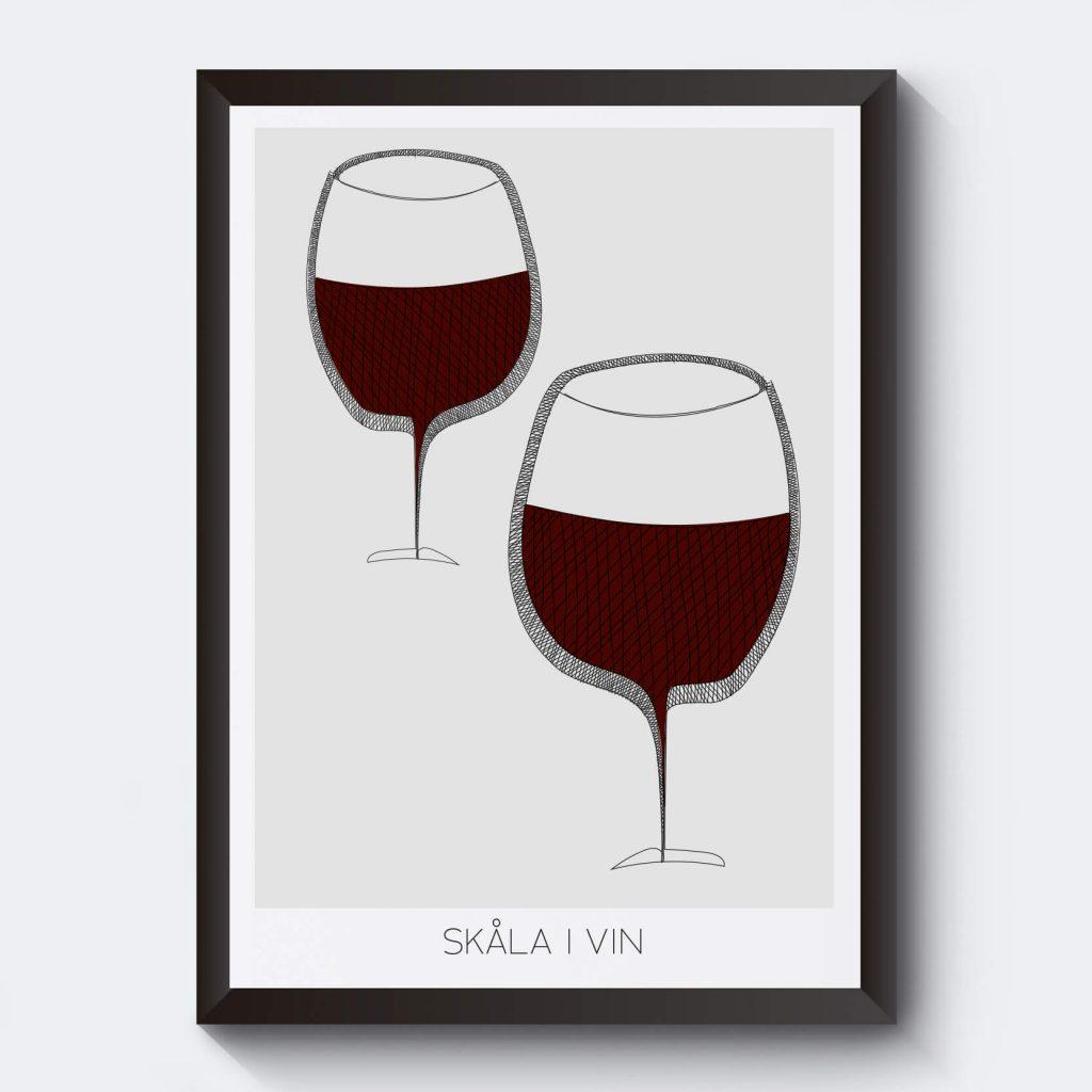 Det godaste vinet är rödvin. Personlig tavla med vinglas.