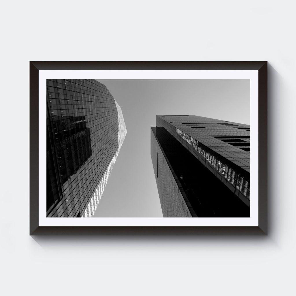 Fotografi svartvitt med skyskrapor