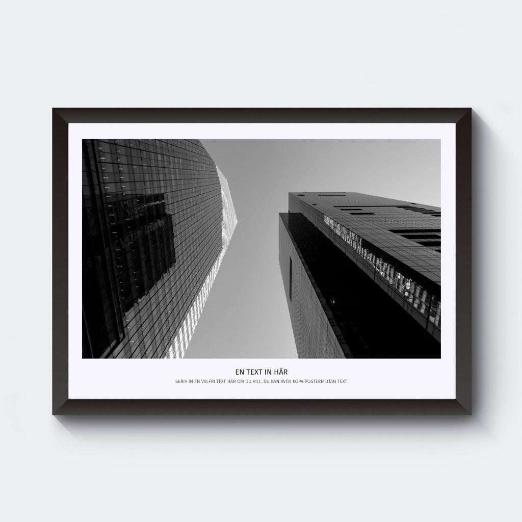 Personlig tavla med egen text i svartvitt skyskrapor