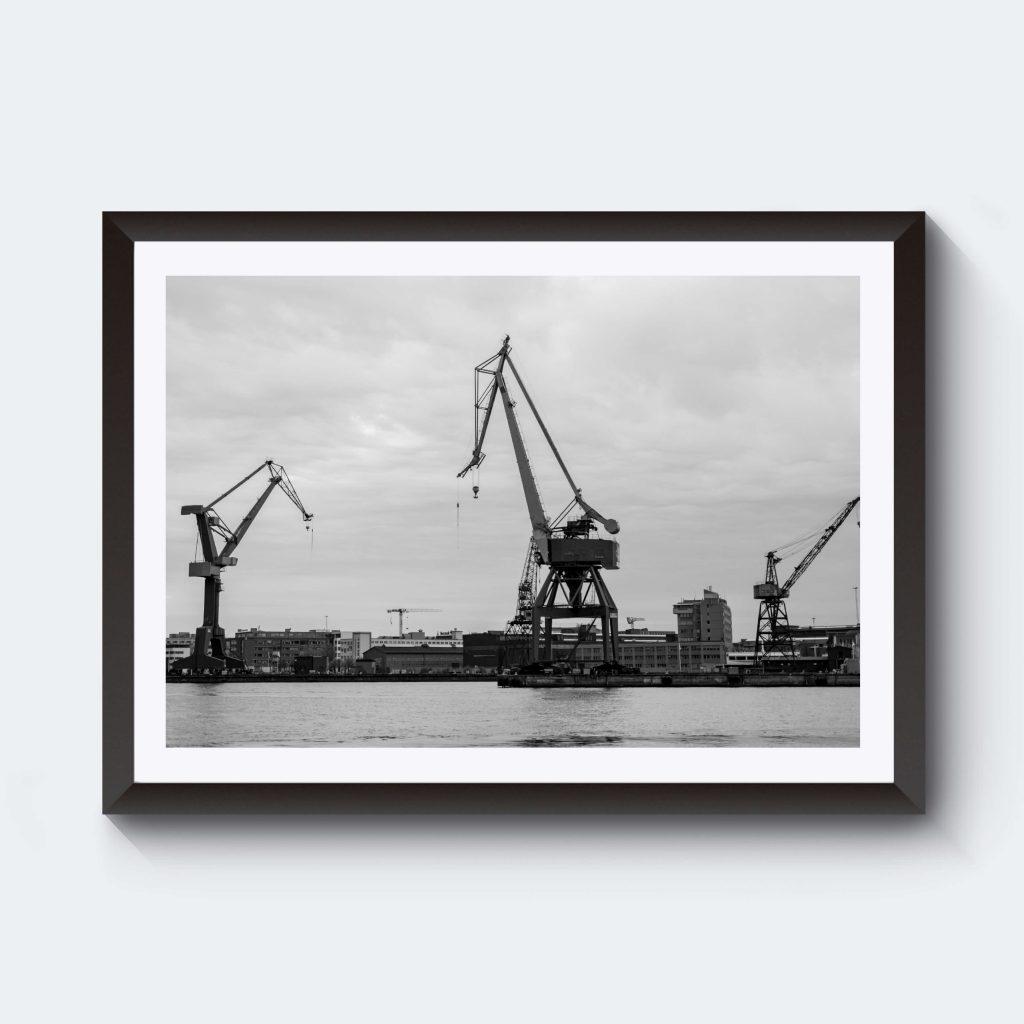 Svartvitt fotografi hamnen Göteborg