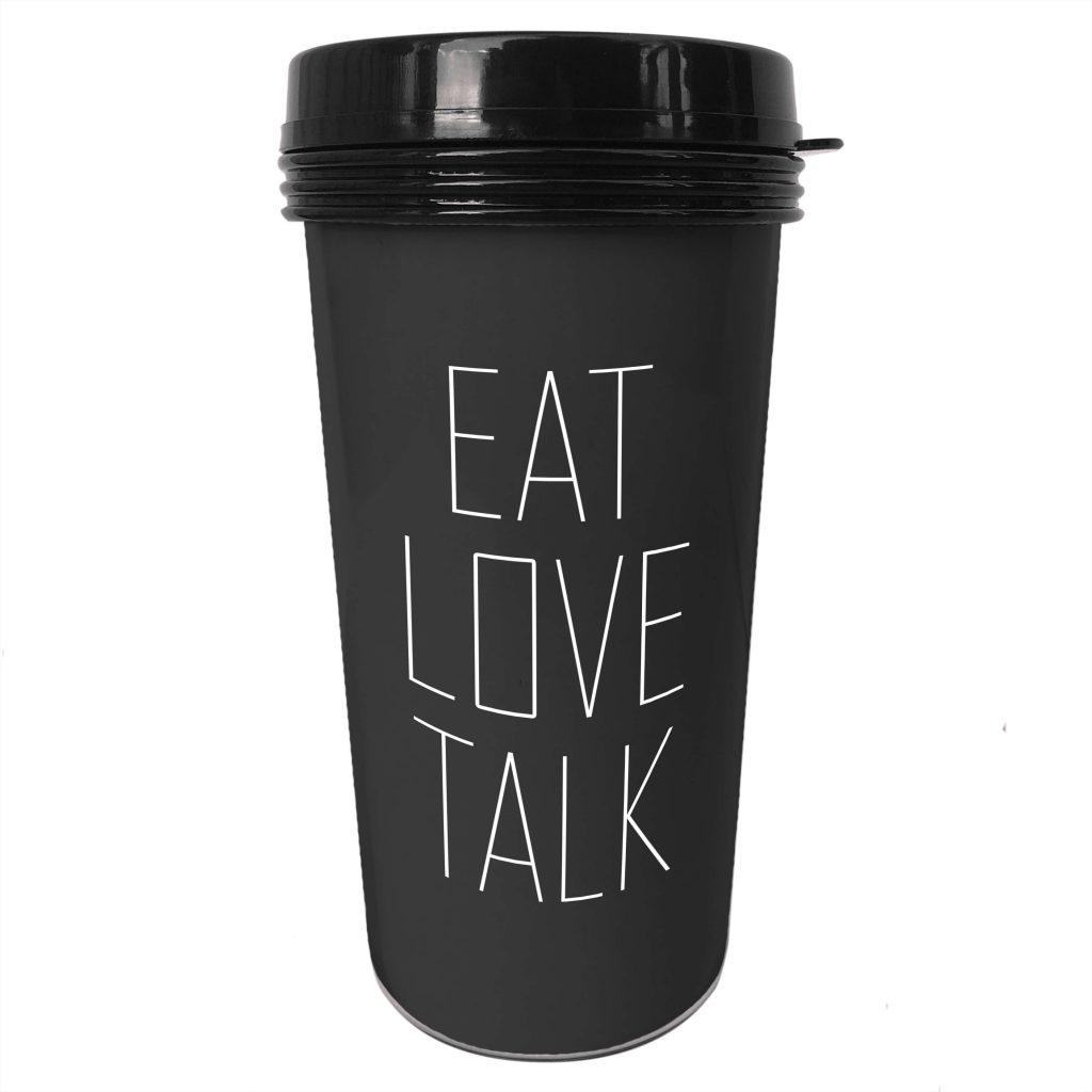 Svart kaffemugg med text