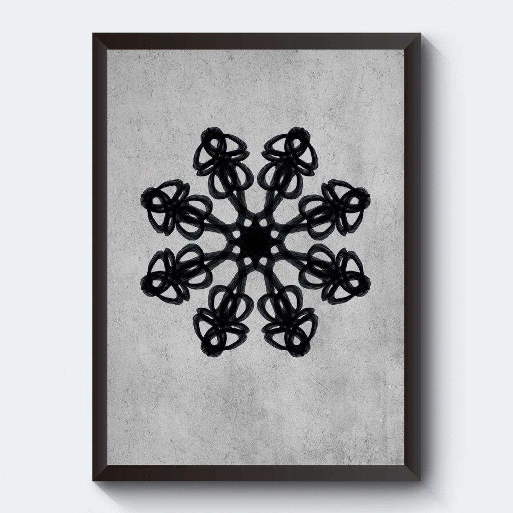 Mandala svartvit tavla