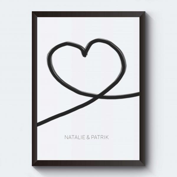 Tavla med hjärta kärlek