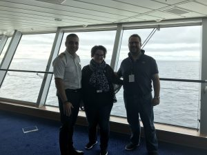 Staff Captain Chris, Anne and Svend on the bridge of Celebrity Eclipse