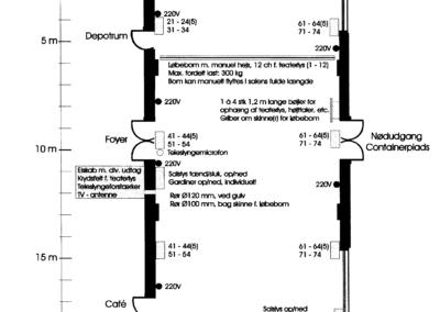 04 - Oversigtstegning af salen med tekniske installationer.