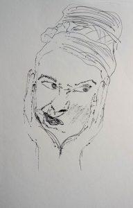Finelinerzeichnung von einem Frauenkopf, der skeptisch schaut