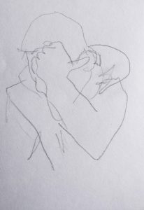 Bleistiftzeichnung von einem Jungen, der sich durch den abstützenden Arm von der Umwelt abschirmt