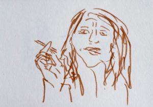 Filzstiftzeichnung einer rauchenden Frau