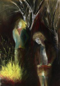 Tusche und Pastell auf Papier von zwei nachdenklichen Gestalten am Feuer
