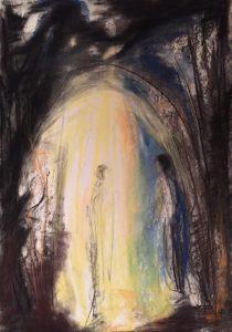 Pastell- und Kohlezeichnung von Erlösung, Himmelstor, eine Gestalt steht im Licht, eine Andere wartet am Tor