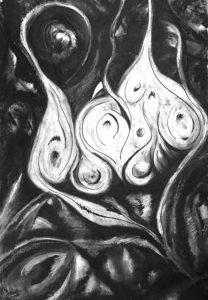 Kohle- und Ölkreidezeichnung, abstrakt