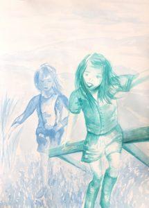 Tusche auf Papier von zwei Kindern, die über ein Feld laufen