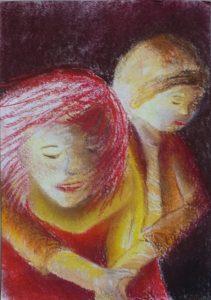 Tusche und Pastell auf Papier von zwei Jugendlichen, der Hintere umarmt den Vorderen