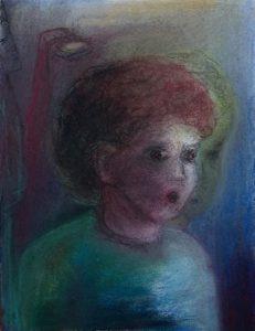 Tusche und Pastell auf Papier von einem kleinen Jungen